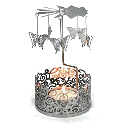 Garden Filigree Carousels Butterfly Design - Stylish Ornate Christmas All Year Tealight Holder That Rotates from Maingate Ltd