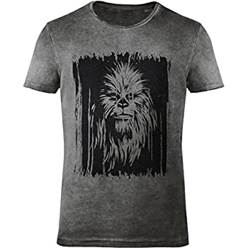 GOZOO Star Wars Men's T-Shirt Vintage Wookiee Oil Dye Grey