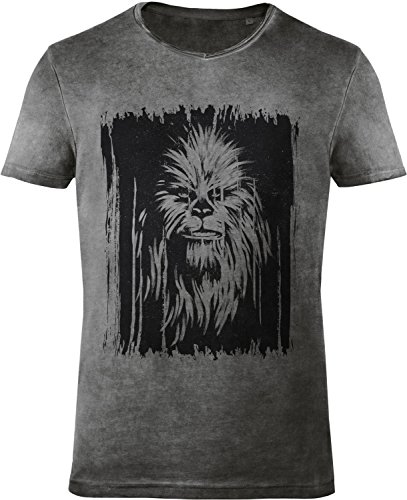 GOZOO Star Wars Men's T-Shirt Vintage Wookiee Oil Dye Grey 0