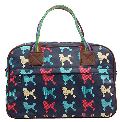 Kukubird Poodle Print Matte Canvas Overnight Satchel with Kukubird Dust Bag - Navy