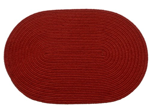 Rhody Rug Solid Polyester Oval Braided Rug, 3 by 5-Inch, Brilliant Red