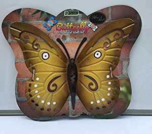 Yellow Rustic Outdoor Garden Wall Art Butterfly Plaque from Crown crest