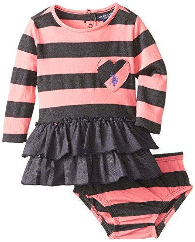 U.S. Polo Assn. Baby-Girls Infant Long Sleeve Striped Jersey Dress With Denim Knit Ruffles, Heather Charcoal, 12 Months