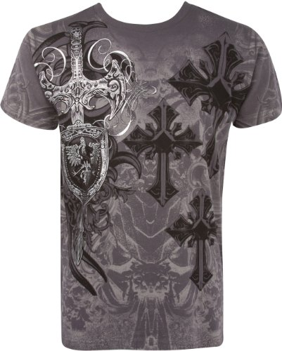 TG527T Cross, Sword and Shield Metallic Silver Embossed Short Sleeve Crew Neck Cotton Mens Fashion T-Shirt - Charcoal / X-Large