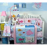 SoHo Pink Gold Fish Aquarium Baby Crib Bedding Set 13 pcs included Diaper Bag with Changing Pad & Bottle Case