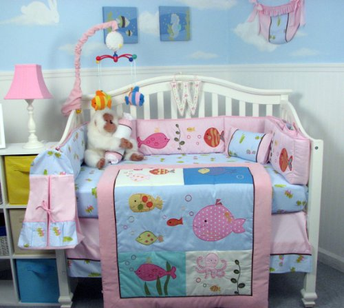 Soho Pink Gold Fish Aquarium Baby Crib Bedding Set 13 Pcs Included Diaper Bag With Changing Pad & Bottle Case front-642750