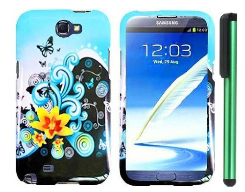 =>>  Butterfly Yellow Lily Flower Blue Splash Premium Design Protector Hard Cover Case for Samsung Galaxy Note II N7100 (AT&T, Verizon, T-Mobile, Sprint, U.S. Cellular) Android Smart Phone + Combination 1 of New Metal Stylus Touch Screen Pen (4