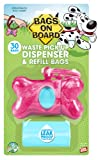 Bags on Board Marble Bone Dispencer with 30 Bags, Pink