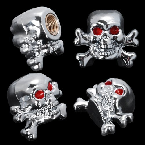 Custom Chrome Silver Skull Tire Air Stem Valve Cap Cover Set For ATV Car Hotrod Ratrod SUV Truck Cadillac Chevrolet Ford Dodge GMC Toyota Honda Nissan Subaru (Pack of 4, Style 4) (Custom Valve Caps compare prices)