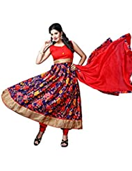 The Fashion World Orange And Digital Multi-Color Printed And Lace Worked Semi Stitched Anarkali Suit