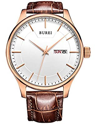 BUREI Watches White Face with Brown Leather Strap Men's Watch