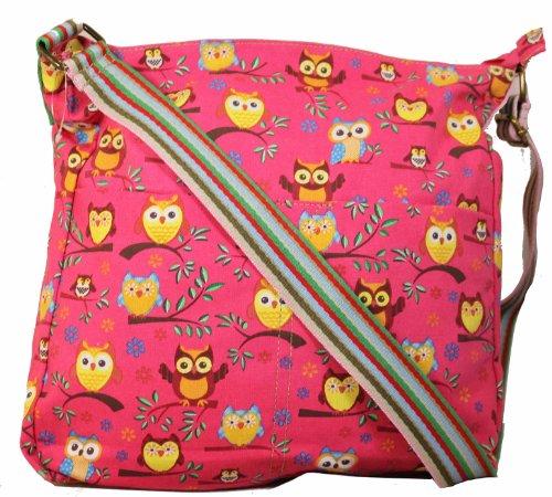Ruby Tree Owl Slouchy Crossbody Bag in Bright Pink