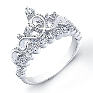 925 Sterling Silver Crown Rings / Princess Ring (7) - Free Shipping