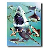Ocean Shark Collage Kids Room Animal Wildlife Wall Picture 16x20 Art Print