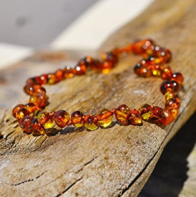 Cognac Hand Made Baltic Amber Teething Necklace for Babies from BabyLand