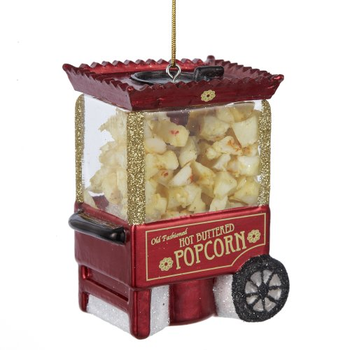 Noble Gems Popcorn Machine Ornament, 3.25-Inch Beautiful Vintage Carnival Glass