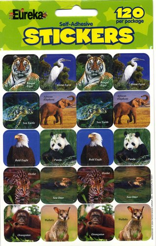 Eureka Endangered Animals Real Photos Stickers