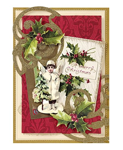 Handmade Dimensional Victorian Angel Christmas Cards Embellished with Glitter By Anna Griffin -- Set of 10 Cards and Envelopes