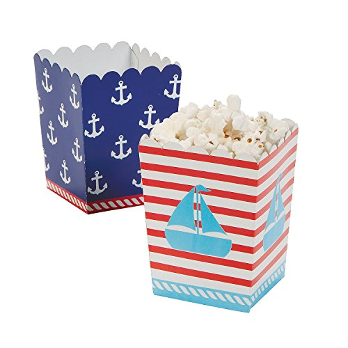 Nautical Sailor Mini Popcorn Boxes - 24 ct