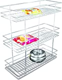 Coffee Stainless Steel Kitchen Three shelf pullout Basket, 8x20x21 inches, Silver, 1-piece
