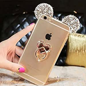 Iphone 6/6s Case,Super Cute 3D Handmade Diamond ears Handcraft With Metal Heart Ring Metal Buckle Pendant Fur Plush Ball Case for Iphone 6/6s 4.7""