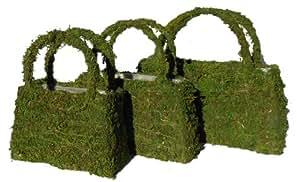 Green Moss Purse Planters - Set of 3 Planters, Small, Medium, Large