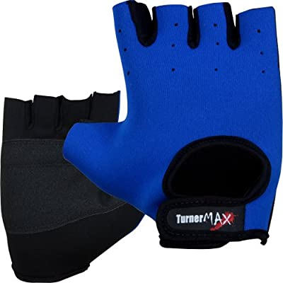 TurnerMAX NEOPRENE Weight Lifting Body Building Training Cycling Gloves Exercise Fitness Gym Grip Blue Black from Turner Sports