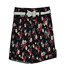 Titrit black printed viscose shorts