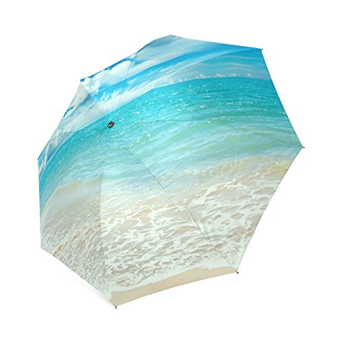 Hot Selling Wind Resistant Umbrella High Quality Unique Beach,Sun and Sand Pictures Printed Portable Foldable Umbrella,Tastefully Decorated