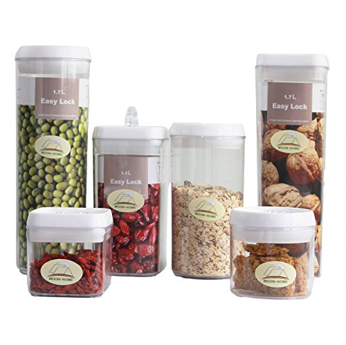 Moonhome 'N' Lock Sealed Plastic Square Round Food Storage Containers, 6 Piece Set (Food Pantry Containers compare prices)