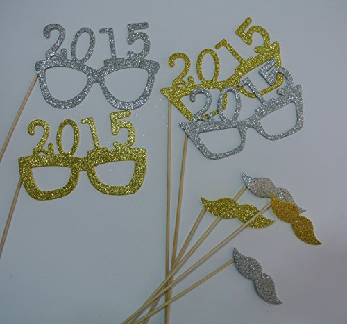 2015 Glasses Photo Booth Props Glasses on a Stick New Years Celebration Gold and Silver New Years Party