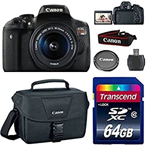 Canon EOS Rebel T6i Digital SLR with EF-S 18-55 IS STM (Silent Motor) Lens + 64GB Class 10 Memory Card + Deluxe Camera Case + Card Reader + Value Bundle + Wi Fi Enabled