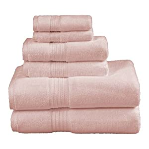 Affluence 6-Piece Towel Set, Dawn Pink