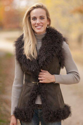 Women's Marlena Sueded Goat Fur Vest with Tibetan Lamb Fur Trim, Brown, Size MEDIUM (8-10)
