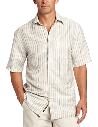 Cubavera Men's Short Sleeve One Pocket Stripe Shirt, Egret, Medium