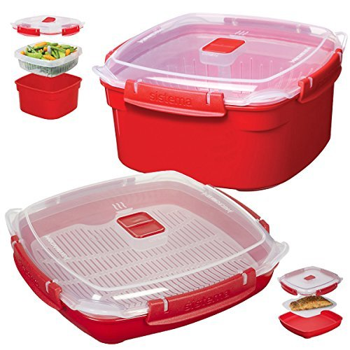 2 Red Sistema Klip It Microwave Steamer Food Storage Container Bowl Tray Vent Locking Lid (Sistema Medium Microwave Plate compare prices)