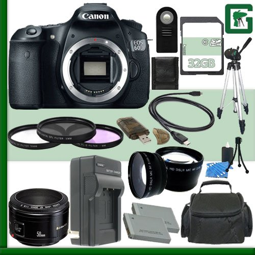 Canon Eos 60D Digital Slr Camera And Canon 50Mm F/1.8 Lens + 32Gb Green'S Camera Package 1