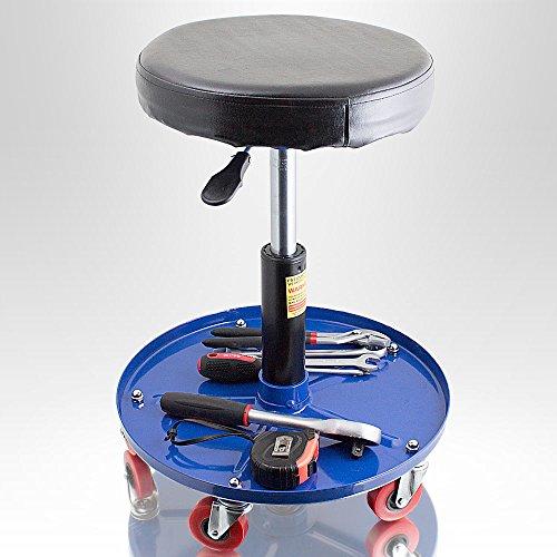 BITUXX-Werkstatthocker-Drehhocker-Rollhocker-Hocker-Drehstuhl-Sitz-Werkstatt-Werstattstuhl-Stufenlos-hhenverstellbar-Rund-FarbeBlau