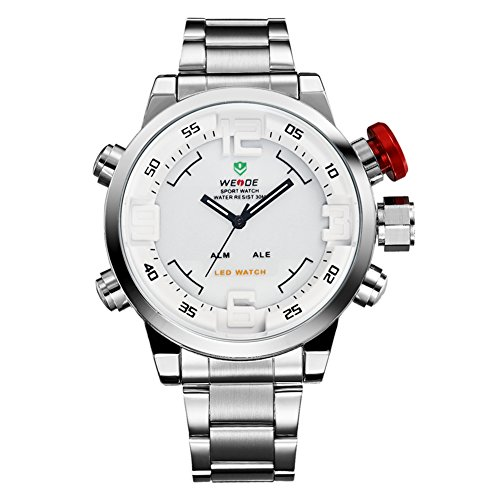 Weide Mens White Dial Dual Time Display Wrist Watch WH2309W (Watches Dual Dial compare prices)
