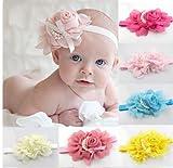 QS 8 Pieces Baby's Headbands Girl's Chiffon Head Band Hair Flower (8 Pack)