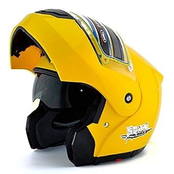 Jaune moto Full Face Flip Up Casque Bouclier double pare-soleil anti-brouillard Taille gratuit