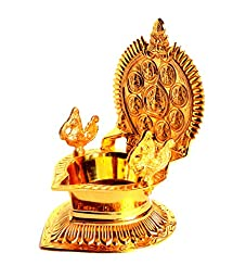StonKraft Goddess Lakshmi Oil Lamp - Traditionally Carved Engraved in Brass