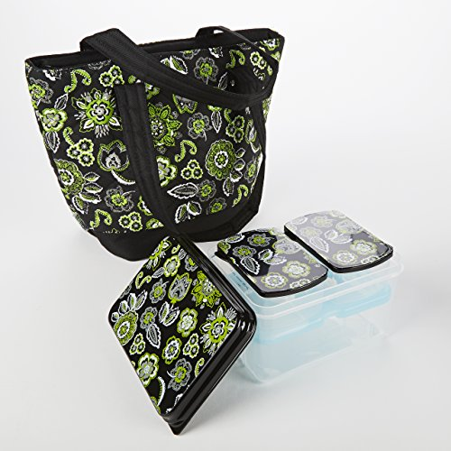 Portsmouth Insulated Lunch Bag with Lunch on the Go (Patterned Lids) - Green & White Paisley - 1