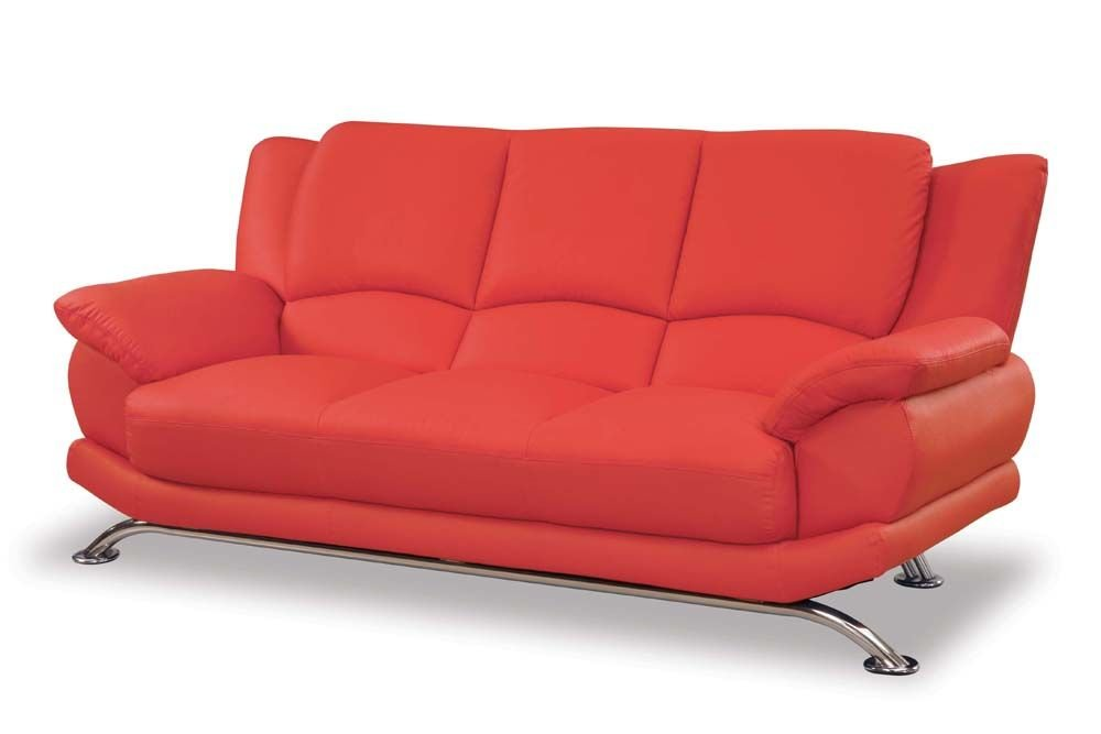 Contemporary High Back Leather Sofa in Red - 9908