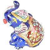 Rajgharana Handicrafts Multi Color Metal Meenakari Metal Statue Of Baby Elephant - (4 Cm X 7 Cm)