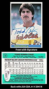 Todd Cruz Signed 1983-84 Donruss #148 Baltimore Orioles Trading Card JSA COA