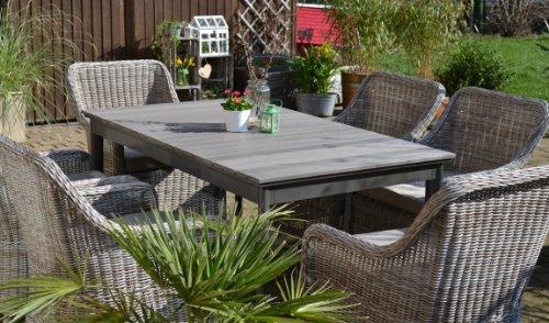 Tisch ausziehbar Holzdekor mit 6 Sessel Rattan Polyrattan Geflecht
