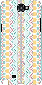 Snoogg Light Blue Aztec Case Cover For Samsung Galaxy Note Ii