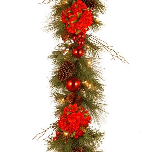 National Tree Decorative Collection Hydrangea Garland With Cones, Red Berries, 9-Feet X 12-Inch