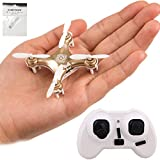 CHEERSON CX-10A RC Nano Drone with Controller and Hobbytiger Gift Headless Mini Quadcopter for Beginner Golden